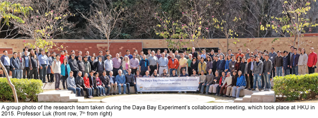A group photo of the research team taken during the Daya Bay Experiment's collaboration meeting, which took place at HKU in 2015. Professor Luk (front row, 7th from right)