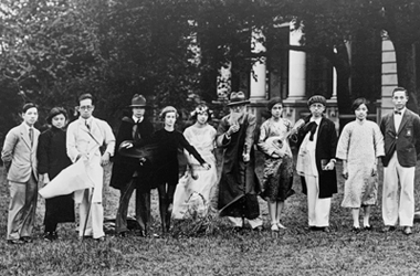 Dr Robert Tam (4th left) in a play performed at the Inter-Universities Sports meet of 1930